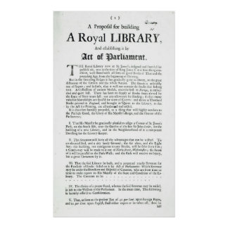 A Proposal for building a Royal Library, 1697 Poster