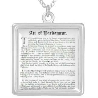 A Proposal for building a Royal Library, 1697 Silver Plated Necklace