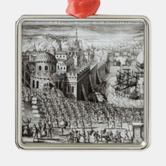 A Prospect of the Town and Harbour Silver-Colored Square Decoration