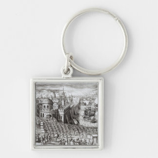 A Prospect of the Town and Harbour Silver-Colored Square Key Ring