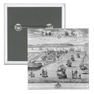 A Prospect of the Towne and Harbour of Harwich 15 Cm Square Badge