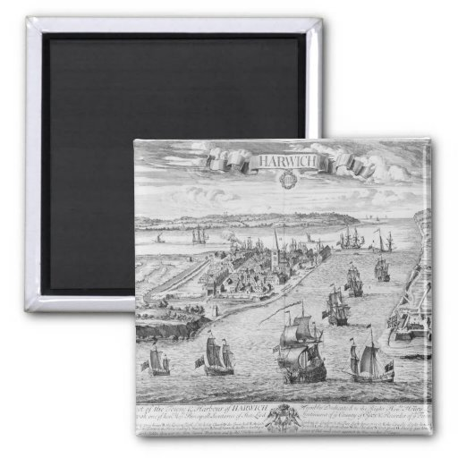 A Prospect of the Towne and Harbour of Harwich Magnets