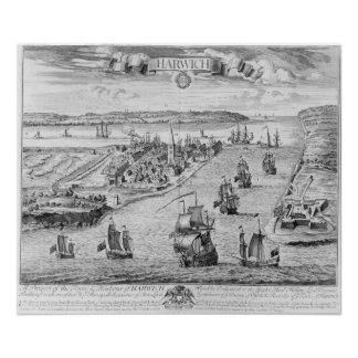 A Prospect of the Towne and Harbour of Harwich Poster