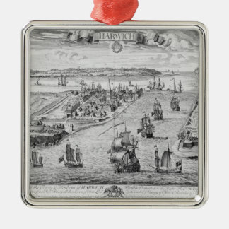 A Prospect of the Towne and Harbour of Harwich Silver-Colored Square Decoration