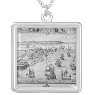 A Prospect of the Towne and Harbour of Harwich Silver Plated Necklace