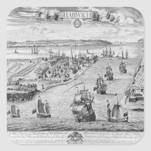 A Prospect of the Towne and Harbour of Harwich Stickers