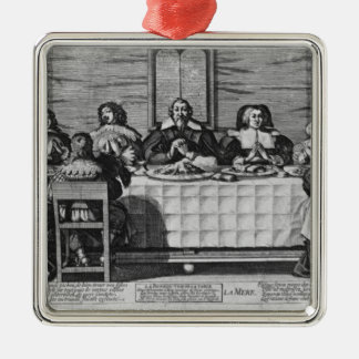 A Protestant family blessing the meal Christmas Ornament