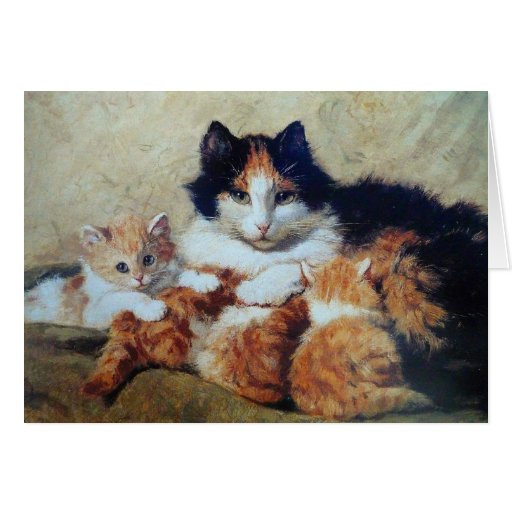 A Proud Mother - A Cat with her Yellow Kittens Greeting Cards