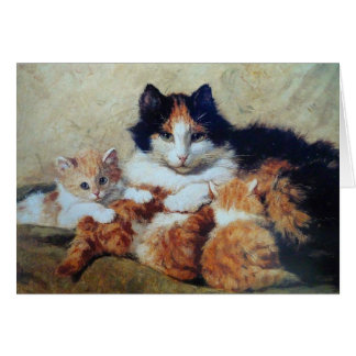 A Proud Mother - A Cat with her Yellow Kittens Greeting Card