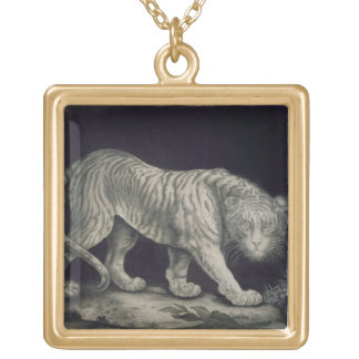 A Prowling Tiger (pencil on paper) Square Pendant Necklace