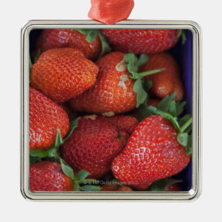 a punnet of ripe fresh strawberries for sale in Silver-Colored square decoration
