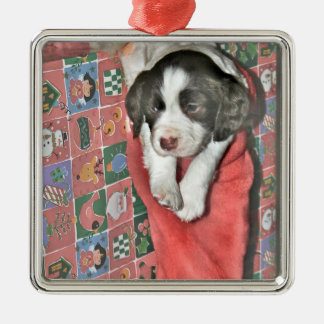A Puppy For Christmas Silver-Colored Square Decoration