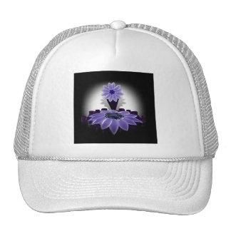 A Purple Flower on Black Background Hats
