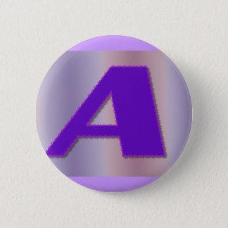 A purple mongram 6 cm round badge