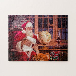 A Puzzle, Santa reviewing the nice list Jigsaw Puzzle