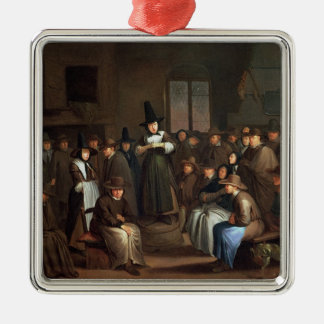 A Quakers Meeting Silver-Colored Square Decoration