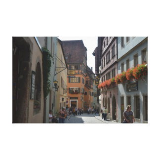 A quiet town of Rothenburg ob der Tauber, Germany. Stretched Canvas Print
