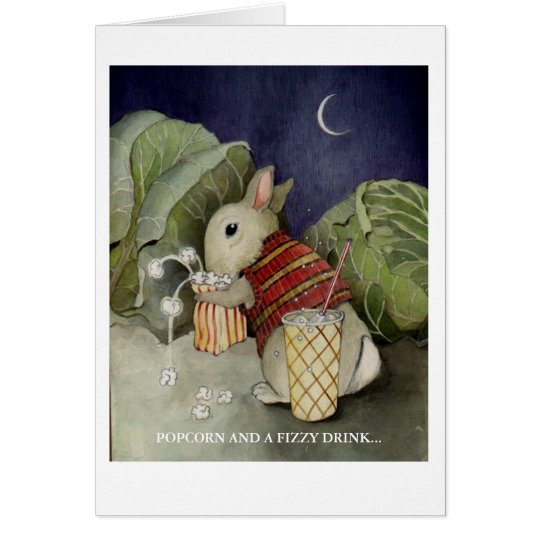 A rabbit enjoys a snack card
