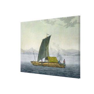 A raft leaving the port of Guayaquil, Ecuador, fro Stretched Canvas Prints