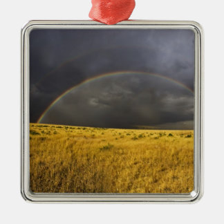 A rainbow appearing through a misty after noon christmas ornament