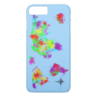 A Rainbow Colored World Map Graphic iPhone 8 Plus/7 Plus Case