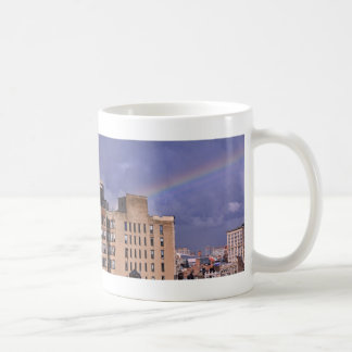 A rainbow over NYC's East River after a storm Basic White Mug