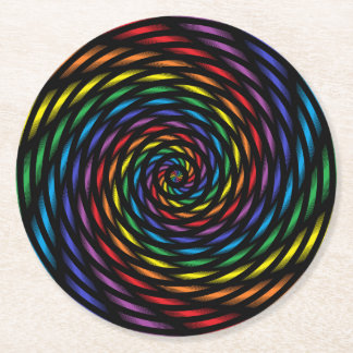 A Rainbow Pinwheel in Motion Round Paper Coaster