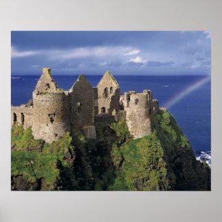 A rainbow strikes medieval Dunluce Castle on Print