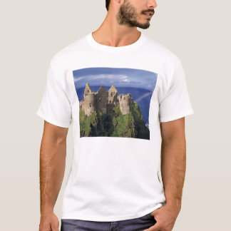 A rainbow strikes medieval Dunluce Castle on T-Shirt
