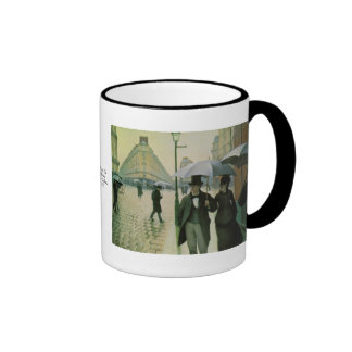 A Rainy Day in Paris by Gustave Caillebotte Ringer Mug