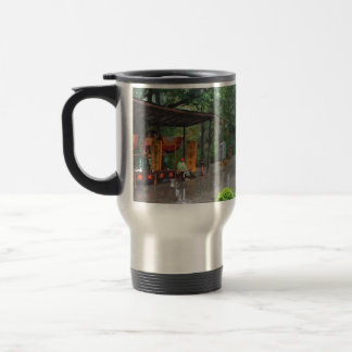 A rainy road in a Chinese folk culture park. Mug