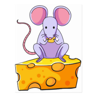 A rat eating above the big slice of cheese postcards