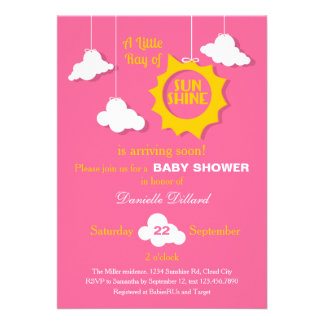 A Ray of Sunshine Baby Shower Invitation Invites