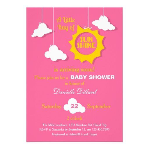 A Ray of Sunshine Baby Shower Invitation Invites