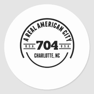 A Real American City Charlotte NC Round Sticker