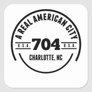 A Real American City Charlotte NC Square Sticker