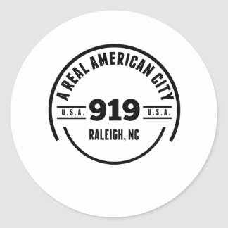 A Real American City Raleigh NC Round Sticker