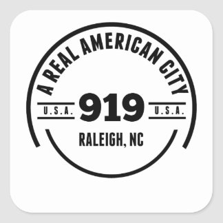 A Real American City Raleigh NC Square Sticker