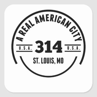 A Real American City St. Louis MO Square Sticker