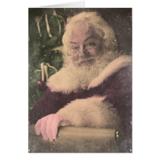 A Real Vintage Santa Claus checking out his list Greeting Card