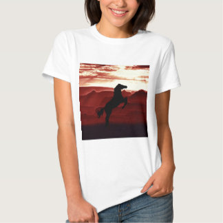 A rearing horse silhouette t shirts