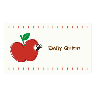a red apple a little worm business card templates