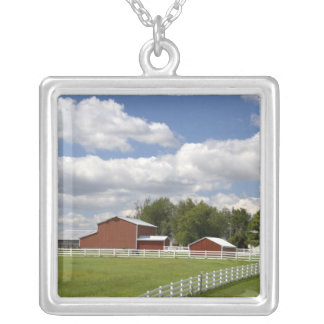 A red barn and farm at Pamona, Kansas. Silver Plated Necklace