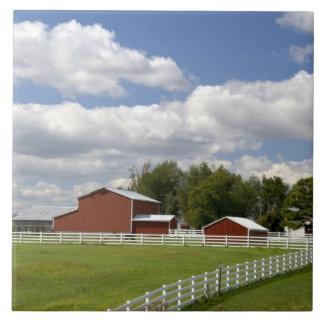 A red barn and farm at Pamona, Kansas. Tile