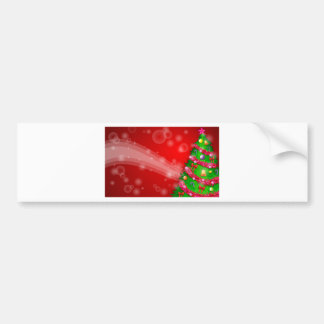 A red christmas design with a green christmas tree bumper sticker