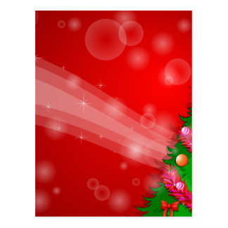 A red christmas design with a green christmas tree postcard