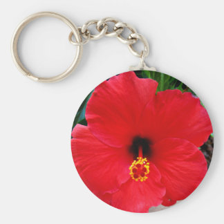 A Red Hibiscus Flower Keychain