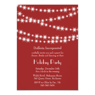 A Red Holiday Twinkle Lights Invitation (corp)