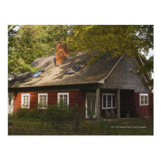 A Red Log Home Postcard