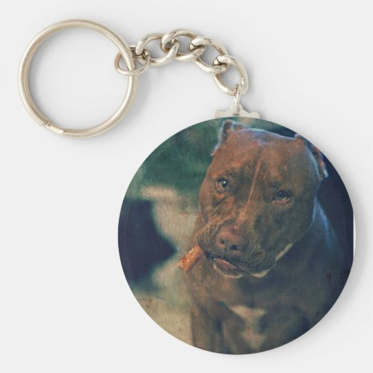 A Red Nose Pit Bull Chewing a Cigar Basic Round Button Key Ring